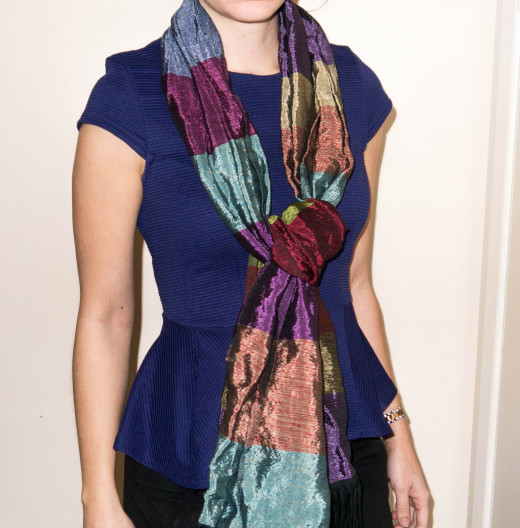 Vary your look with a colourful scarf.