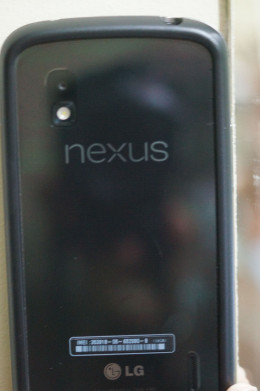 The Nexus 4 phone, showing the logo, LED flash bulb and the 8 MP camera with is the subject of this review.