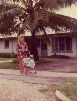 My daughter and I taking a walk near our home in Tonga.