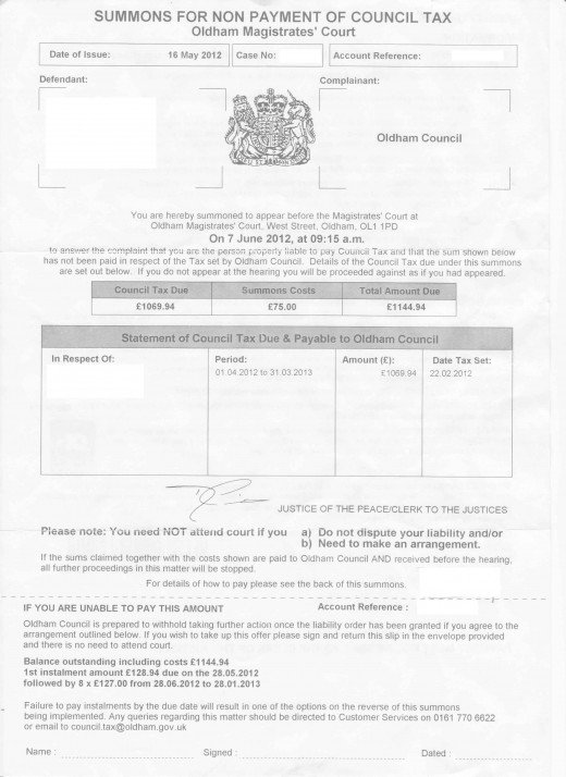 Fake signature on Illegal Summons issued by Oldham Council