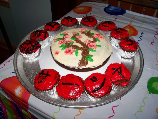 Vegan chocolate cake with  a Japanese theme.
