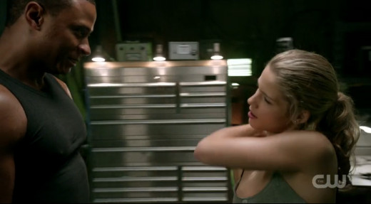 Diggle and Felicity are getting their sweat on.