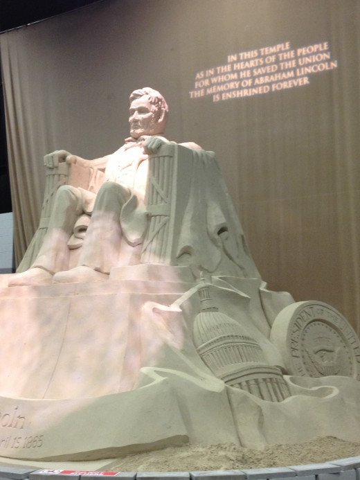 The Lincoln Memorial was sculpted out of sand.  It was huge and an awesome sight!