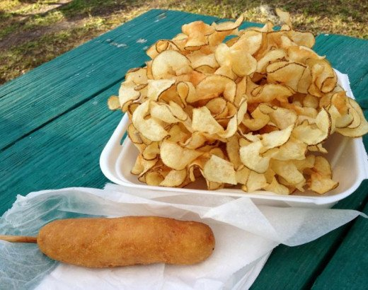 The enormous pile of home-made ribbon fries accompanied by a tasty corn dog are favorite fair meals.