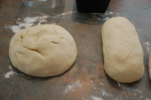divide into two loaves, cover and let rest for 10 min