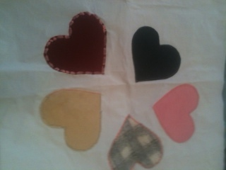 All of these hearts are different textures and different stitches. Experiment with different shapes and different fabrics.