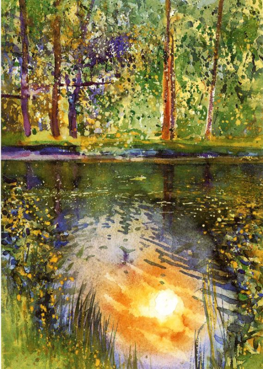 Beautiful reflection of the sun in this. Notice the yellow highlights on the water and the slight ripples in the water, as well as the reflected trees.