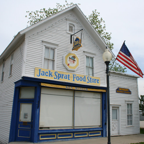 The old Jack Sprat Food Store, now Ed's Museum, in the Historic Gold Street Commercial District in Wykoff, Fillmore County, Minnesota.