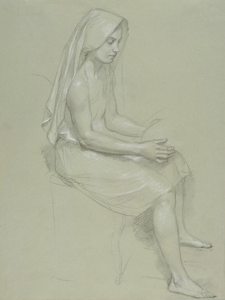 Study of a Seated Veiled Female Figure (19th Century)