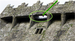 The Blarney Stone is attached to the underside of the battlements and held in place by the two iron bars, shown here.