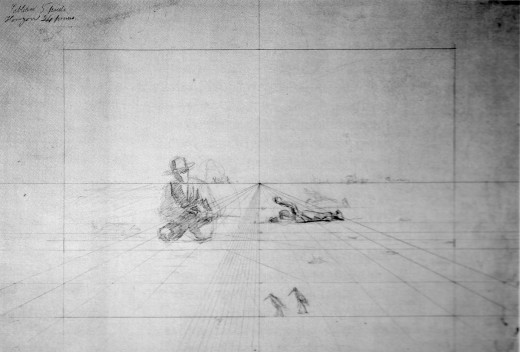 """Perspective Drawing for Hunting. Circa 1874. Scanned from """"Thomas Eakins:Artist of Philadelphia"""" by Darrell Sewell, page 26. ISBN 0876330472"""
