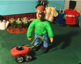 Stop-motion Character About To Mow The Lawn