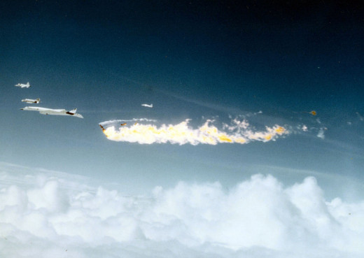 Moment after a F-104 impacted the XB-70