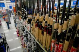 Selection of Fishing Poles in Walmart