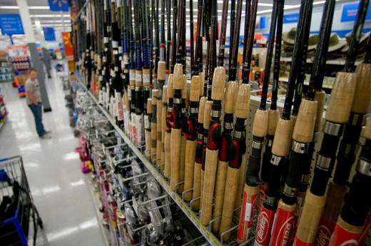 Selection of Fishing Poles in Walmart