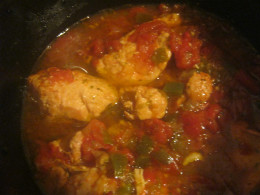 My most recent slow cooker dish, fiesta chicken. Chicken with Mexican style tomatoes, a chopped onion, chopped green pepper, minced garlic, garlic powder, cumin and oregano and just a dash of salt for flavor.