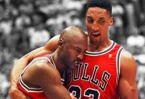 Michael Jordan is being helped by Scottie Pippen during the famous Flu Game in 97. Jordan came up big whether he was sick or healthy.