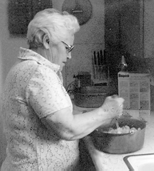 My Honeymama at the stove making something wonderful.