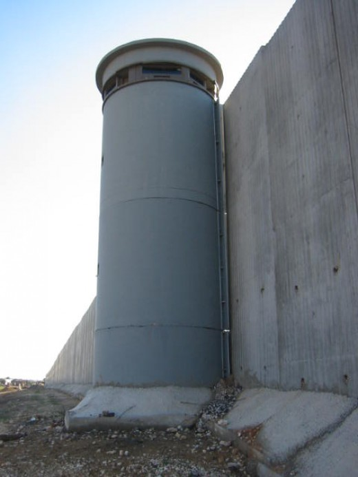 Israeli watchtower. Israeli wall.