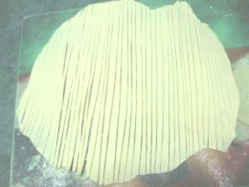 Photo: Homemade Noodles Cut Into Strips