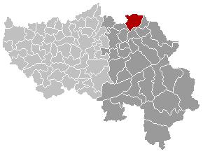Map location of Plombières municipality, Liège province, Belgium