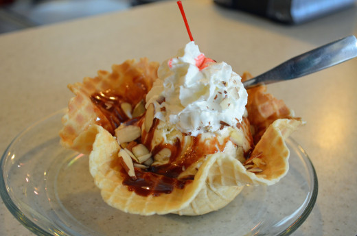 Ice cream sundae in a homemade waffle cone.  It doesn't get much better than this.
