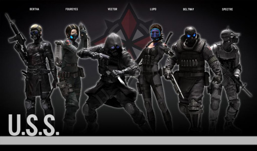 Umbrella Security Service Delta Squad Members: Bertha, Four Eyes, Vector, Lupo, Beltway, and Spectre