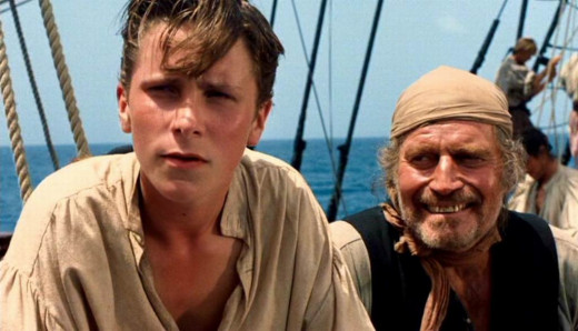 Christian Bale and Charlton Heston in Treasure Island (1990)