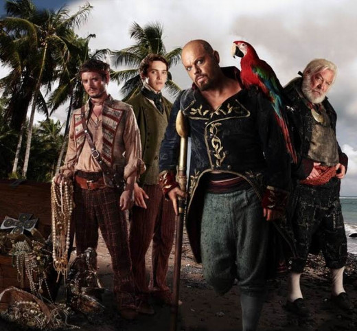 Elijah Wood, Toby Regbo, Eddie Izzard and Donald Sutherland in Treasure Island (2012)