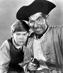 Bobby Driscoll and Robert Newton in Treasure Island (1950) publicity still
