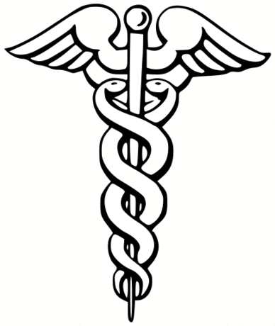 The symbol of medicine, the Caduceus.