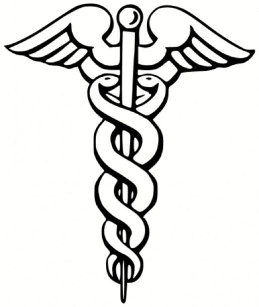 The symbol of medicine, the Caduceus.