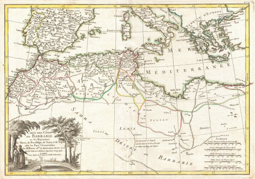 A map of the Barbary Pirate Coast.