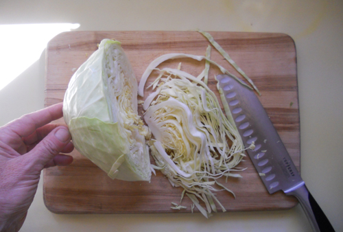 slice cabbage into ribbons
