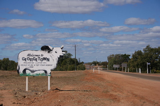 A welcome sign for an Outback town with a population of 300 people