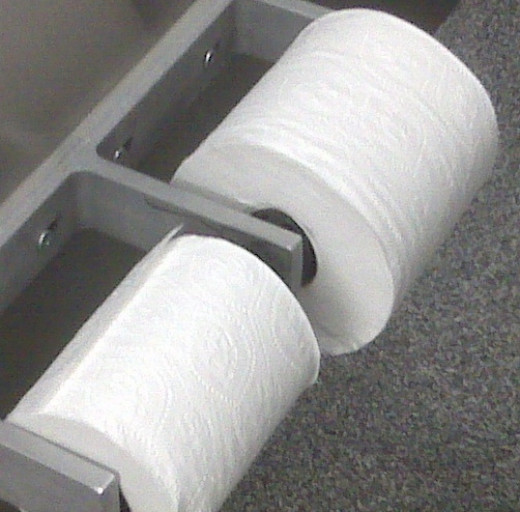 A sufficient supply of toilet paper is available in most stalls.