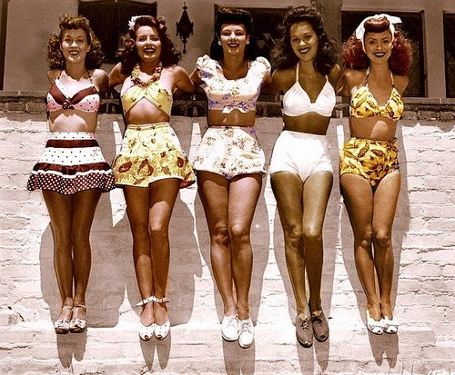 five beautiful ladies in vintage 2 piece swimsuits and high heels