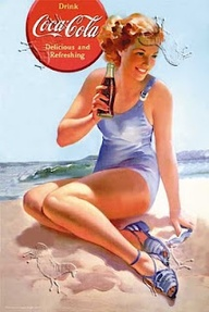 vintage Coca Cola advertisement with blond girl in blue one piece swim suit enjoying a Coca Cola