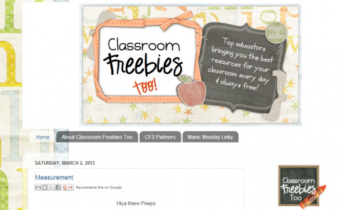A screenshot of the site, Classroom Freebies Too, which gives away a lot of free stuff!