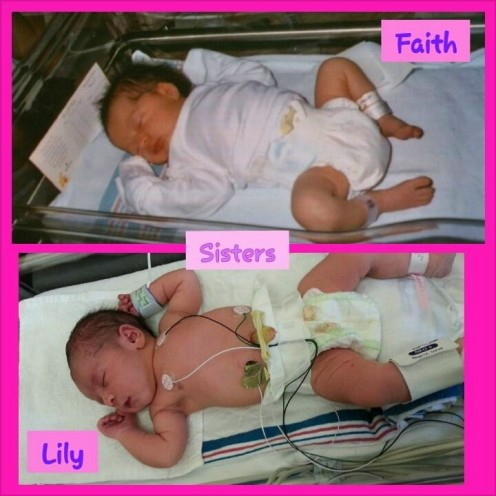 Faith and Lily within hours of birth.