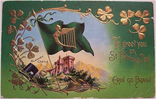 "Vintage postcard, Blarney Castle, ""To Greet You on St Patrick's Day"""