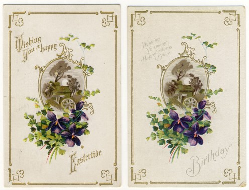 As you can see in these two cards, they are exactly alike, but have different greetings.