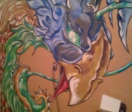 Jeremiah's art is done on walls.  Amazing detail in such large scale.  This is a blue phoenix.  My spirit when calm.