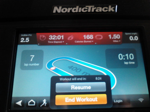 this is an actual workout and milestone for me.  I walked 1.5 miles in 32 minutes - the extra one second was due to pressing the stop button as the clock continued