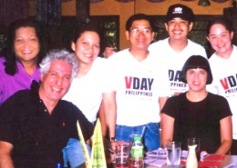 Posing with Eve Ensler, Monique Wilson and other V-Day organizers in the Philippines during a film documentation activity with the Comfort Women in the Manila