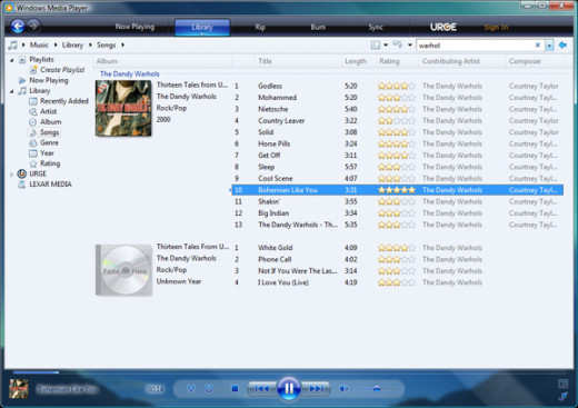 Seen above is Windows Media Player 11 which is a great choice for getting started.