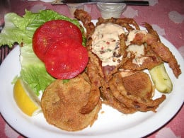 Soft shell crab sandwich and fixins