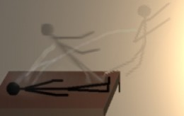 Astral travel showing the characteristic 'thread' holding the spirit to the body. This is not present with doppelgangers