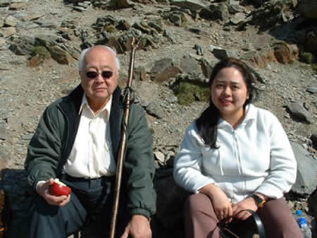 Grandmaster Yap Cheng Hai and I studying Feng Shui in the mountains of North Wales