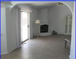 Kiva fireplace in Living Room Very special environmentally sound Marmoleum flooring